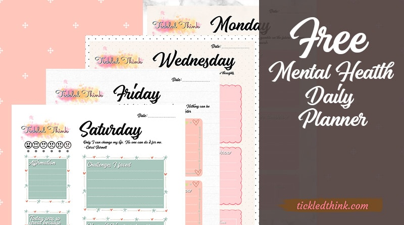 Free Mental Health Daily Planner Printables Tickled Think